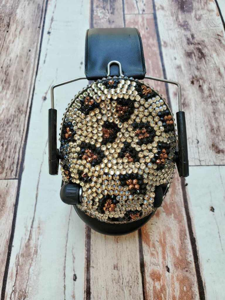 Leopard Print Crystal Electronic Shooting Ear Muffs