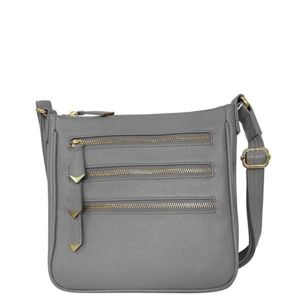 Triple Zipper Leather Concealment Crossbody Bag