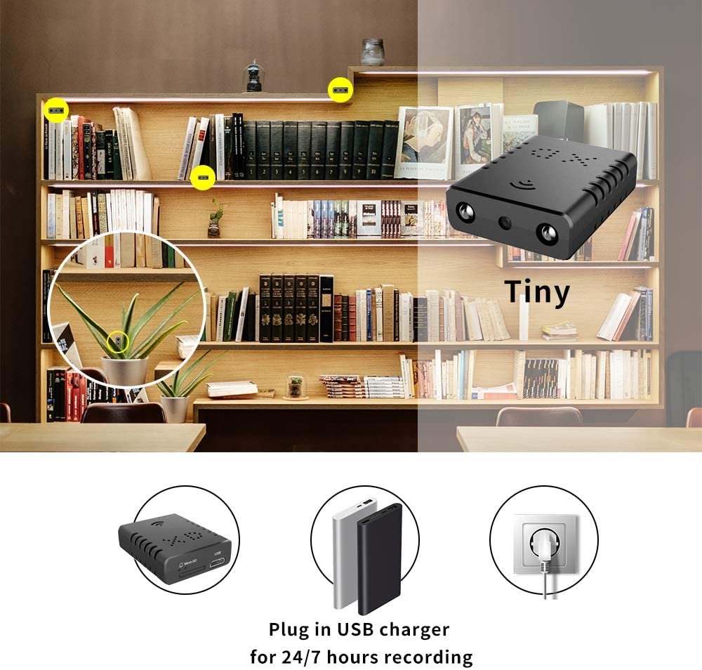 Covert Concealable WiFi Mini-Camera / DVR (w/ Night Vision & Motion Detection)