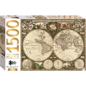 Jigsaw Puzzle 1500 Piece - Gold Vintage World Map