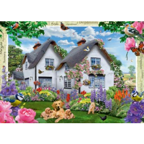 1000 Piece Jigsaw Puzzle - Delphinium Cottage