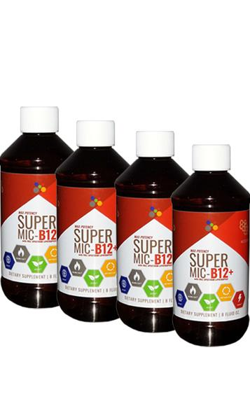 Super MIC B12+ Four Bottles - 64 Shots