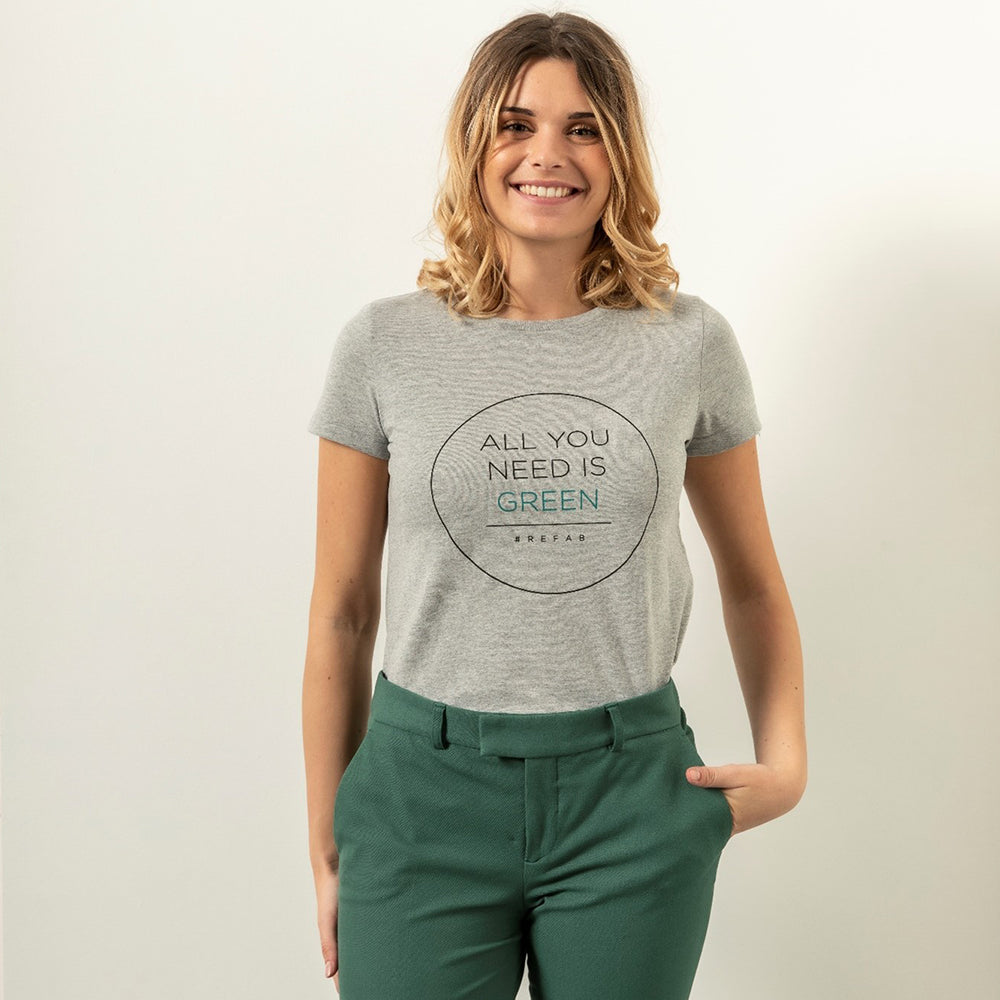 T-shirt recyclé femme  « All you need is green » - RefabMarket