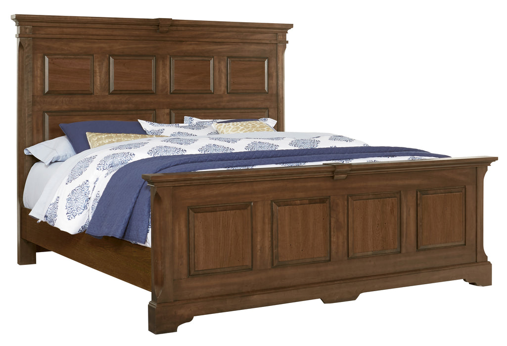 Heritage Amish Cherry  KING MANSION BED WITH PLATFORM BASE