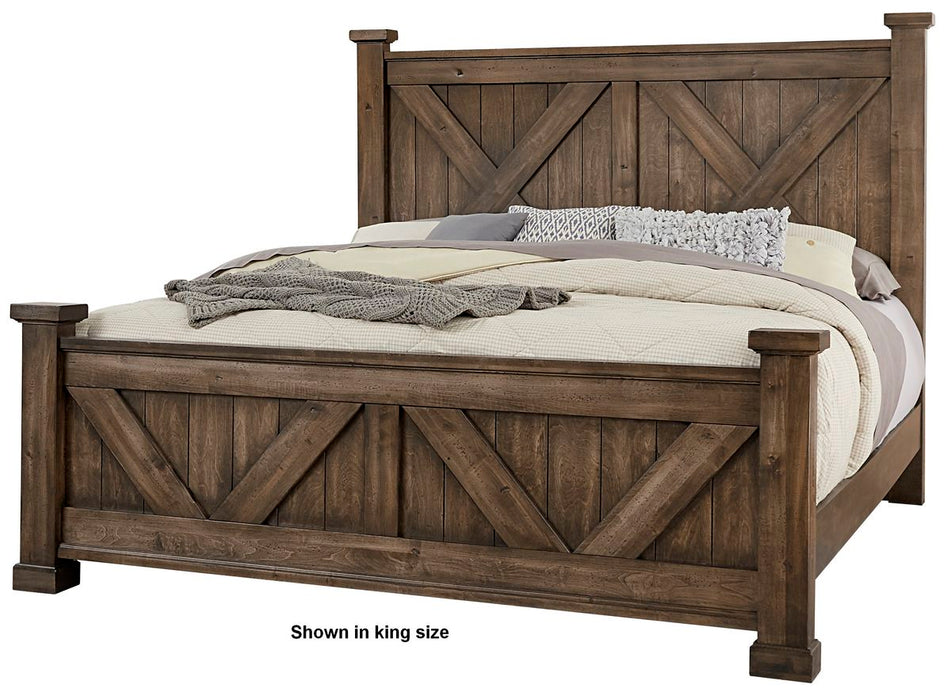 Cool Rustic Mink  Cal King X Bed with X footboard