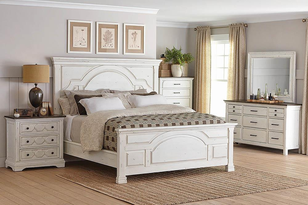 Traditional Vintage White Eastern King Bed