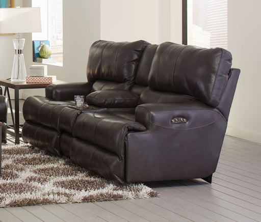 Catnapper Wembley Power Headrest w/ Lumbar Lay Flat Reclining Console Loveseat in Steel image