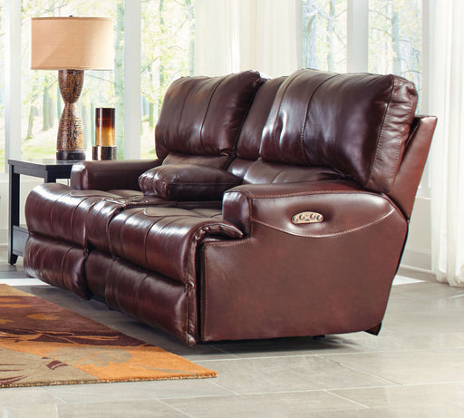 Catnapper Wembley Power Headrest Lay Flat Reclining Console Loveseat in Walnut image