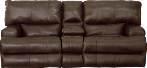 Catnapper Wembley Power Headrest w/ Lumbar Lay Flat Reclining Console Loveseat in Walnut 764589 image