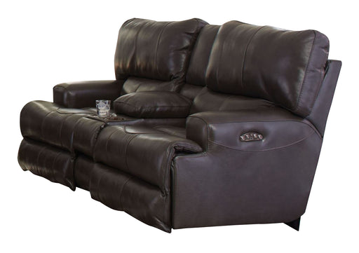 Catnapper Wembley Power Headrest Lay Flat Reclining Console Loveseat in Steel image