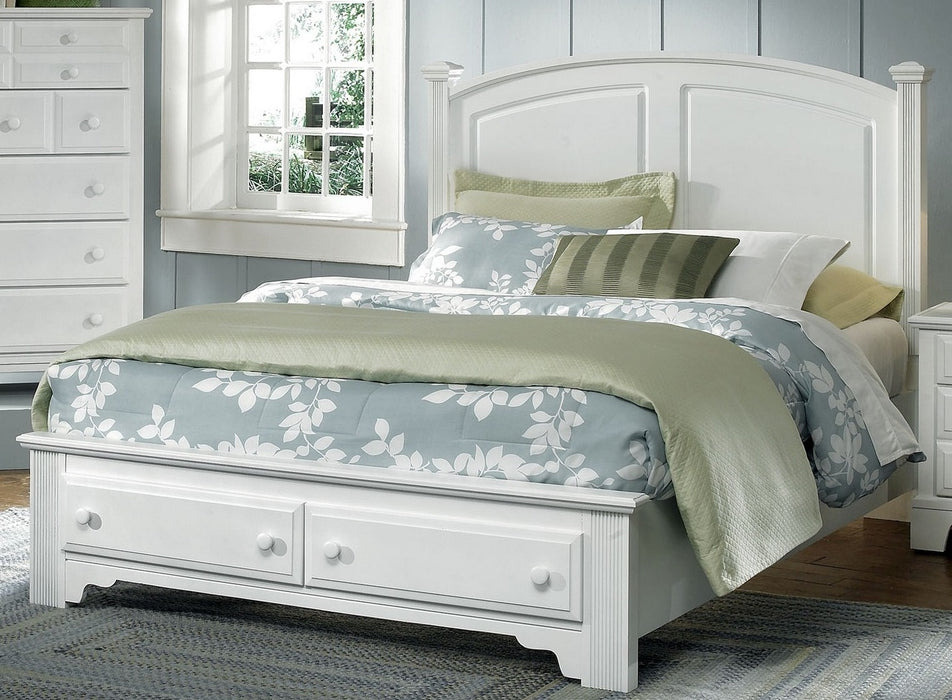 Hamilton/Franklin 6 Snow White  Queen Panel Bed with Storage Footboard