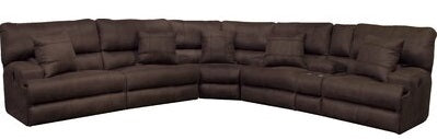 Catnapper Monaco Power Headrest w/Lumbar Power Lay Flat Reclining Sectional Set in Dark Chocolate image