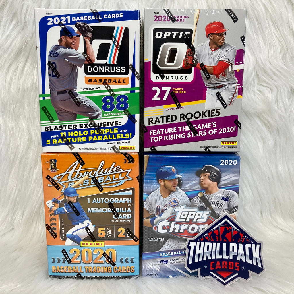2021 DONRUSS + 2020 OPTIC + CHROME + ABSOLUTE BASEBALL MIXER W/ 25 PARALLELS + 1 AUTO OR RELIC