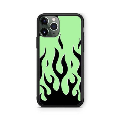 Neon Green Flames IPhone Case
