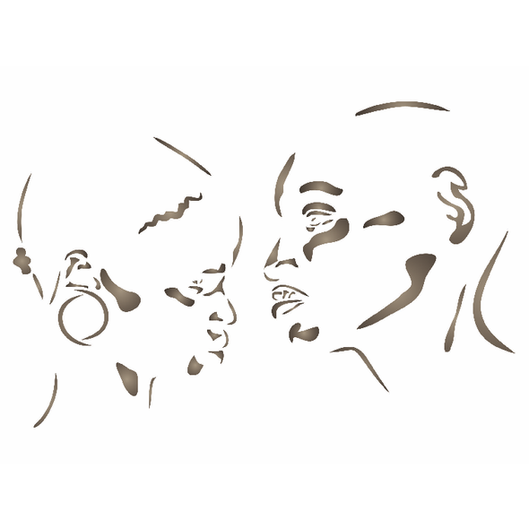 African Couple Stencil