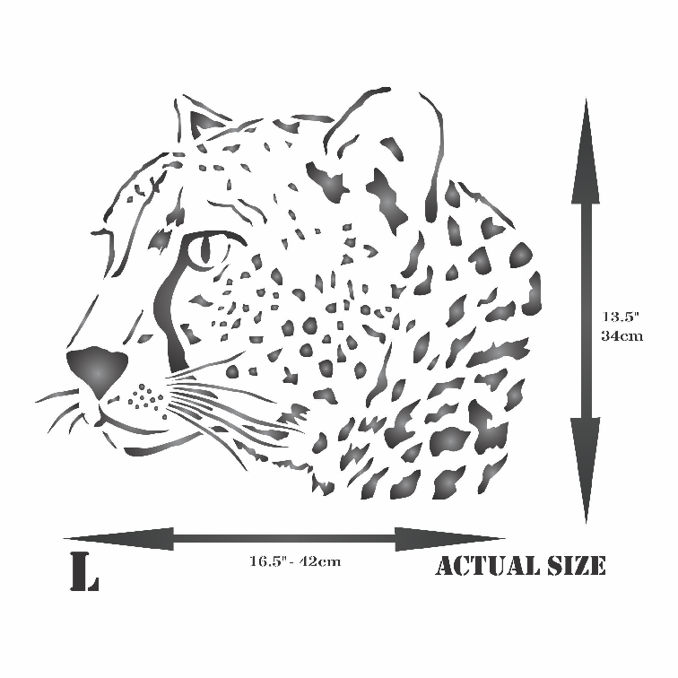 Cheetah Head Stencil