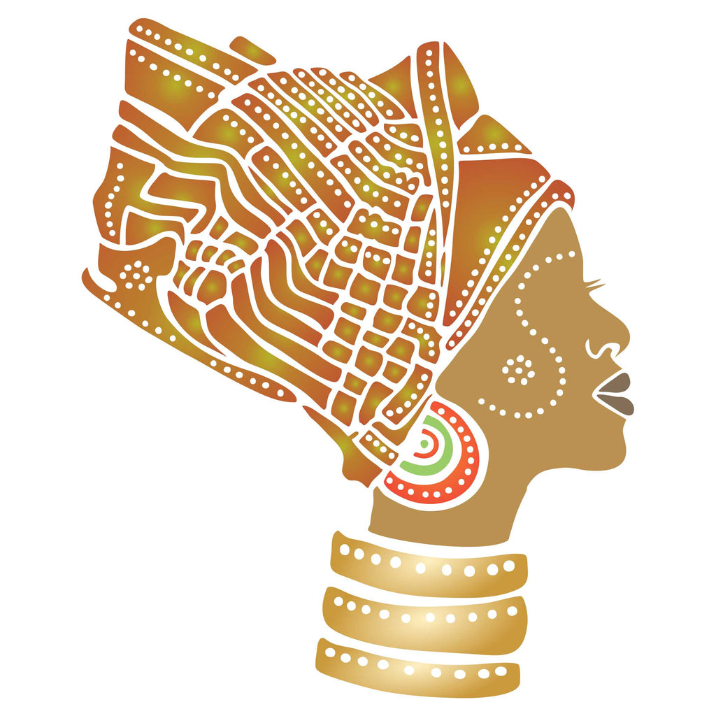 African Headdress Stencil