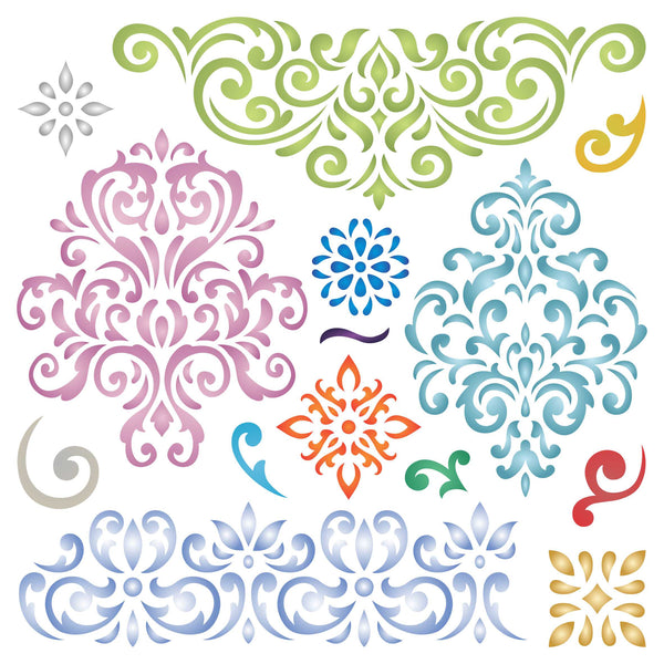 Damask Patterns Stencil