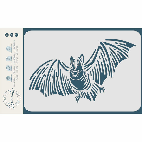 Flying Bat Stencil