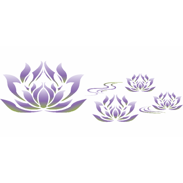 Lotus Flower Border Stencil