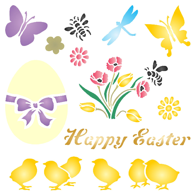 Easter Chicks Stencil