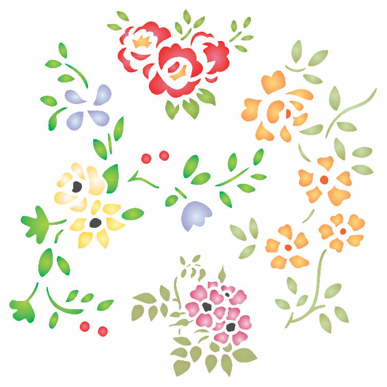 Naive Flowers Stencil