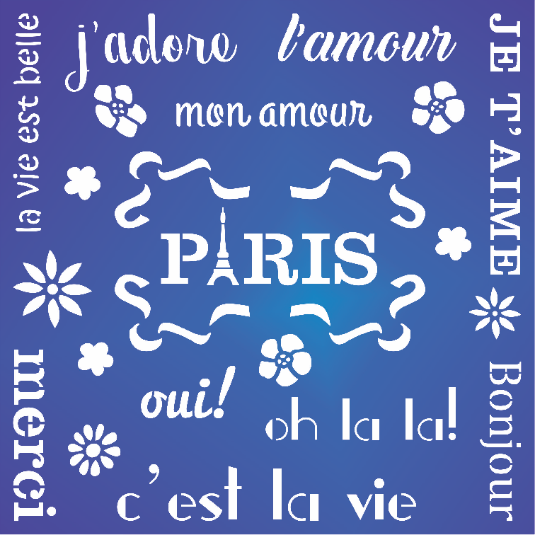 French Words Stencil