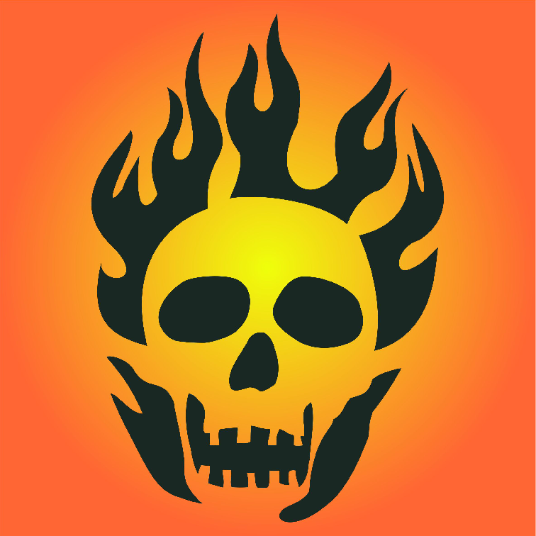 Halloween Flaming Skull Stencil