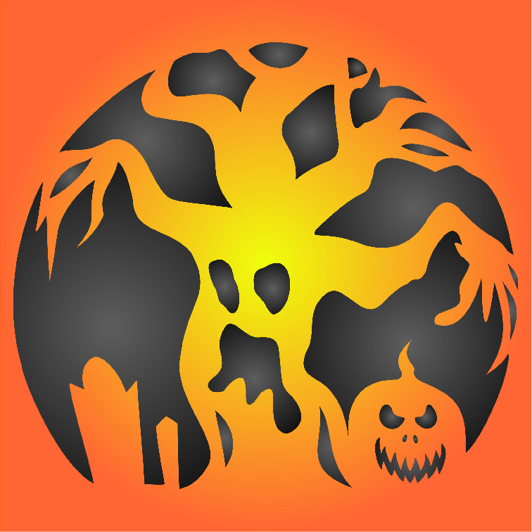 Halloween Scary Tree Stencil