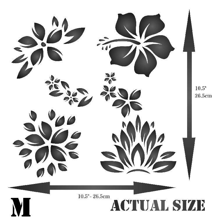 Tropical Flowers Stencil