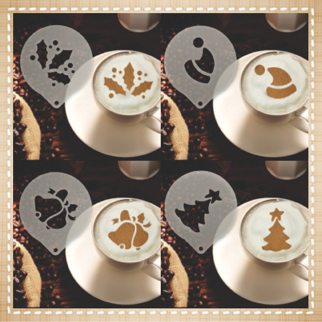 Christmas Coffee Set Stencil