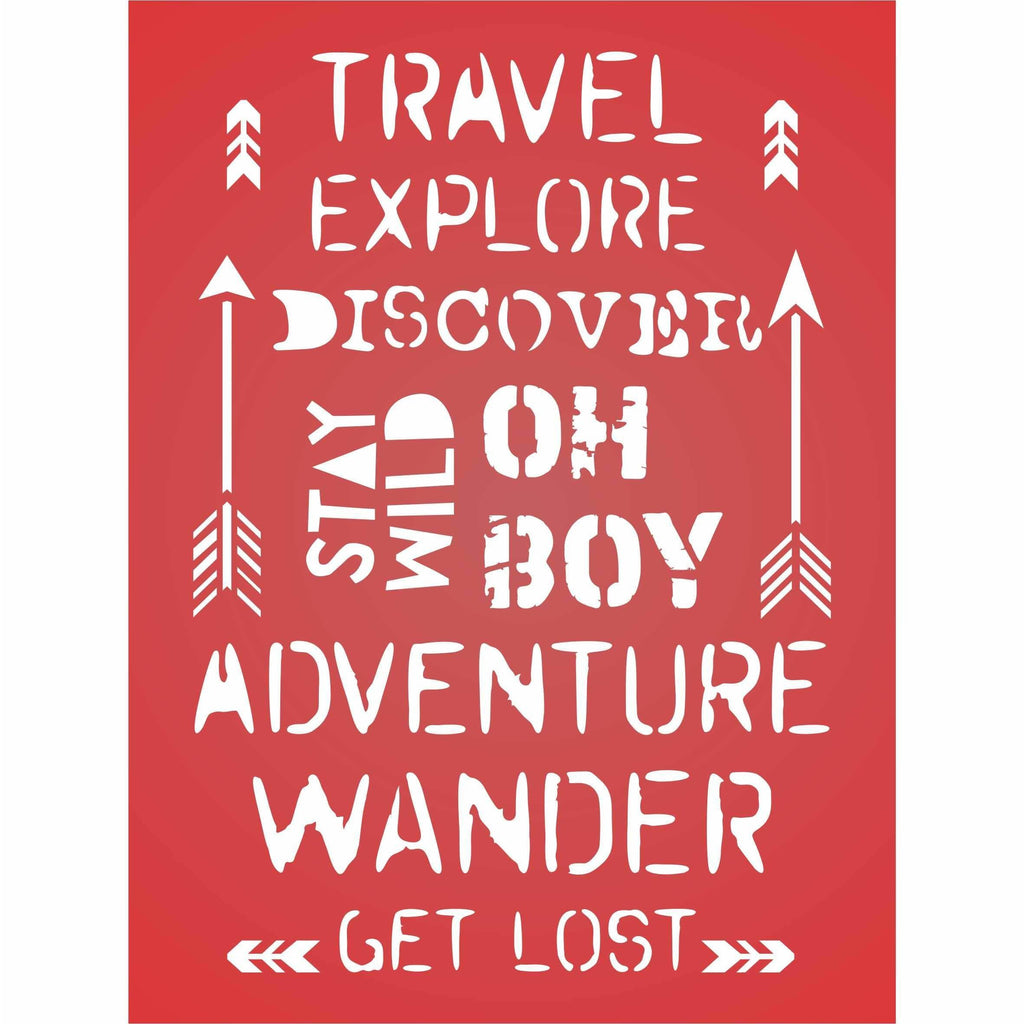Travel Words Layering Stencil