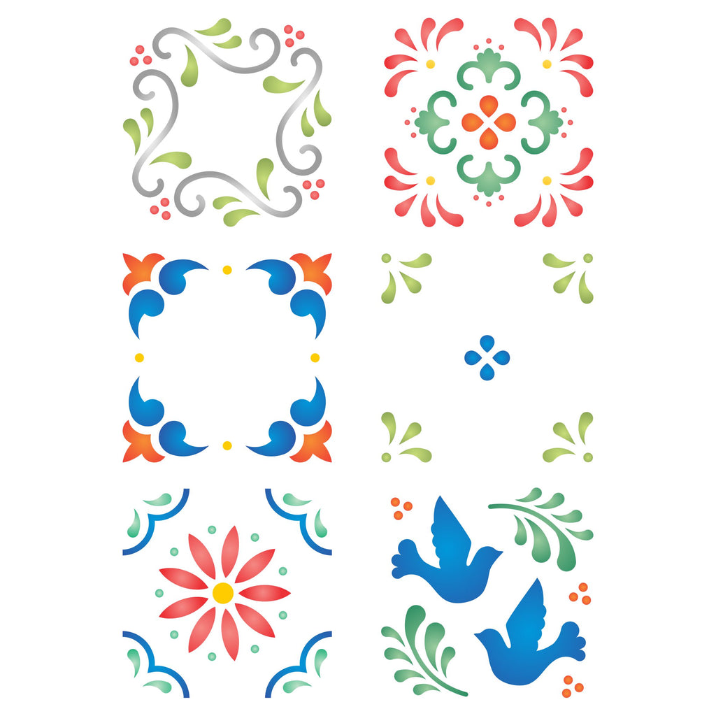 Mexican Tiles Layering Stencil