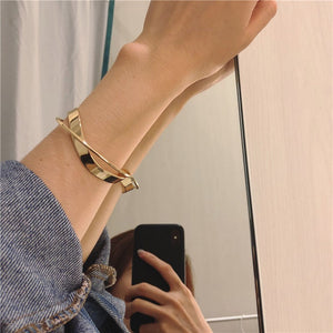 Glossy Double Layer Geometric Irregular Cross Bangle for Women Golden selfie | etrolleys.com