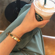 Load image into Gallery viewer, Glossy Double Layer Geometric Irregular Cross Bangle for Women Golden Coffee | etrolleys.com