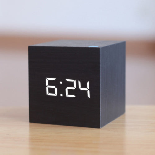 Digital Wooden LED Alarm Clock (black) | etrolleys.com