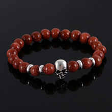 Load image into Gallery viewer, Aluminium Skull Natural Stone Beads Elastic Bracelets for Men and Women ginger | etrolleys.com