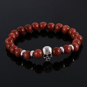 Aluminium Skull Natural Stone Beads Elastic Bracelets for Men and Women ginger | etrolleys.com