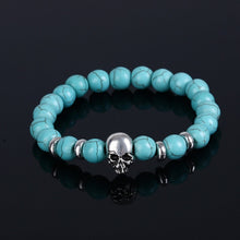 Load image into Gallery viewer, Aluminium Skull Natural Stone Beads Elastic Bracelets for Men and Women sky blue| etrolleys.com