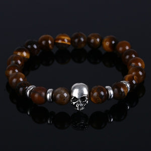 Aluminium Skull Natural Stone Beads Elastic Bracelets for Men and Women brown stone| etrolleys.com