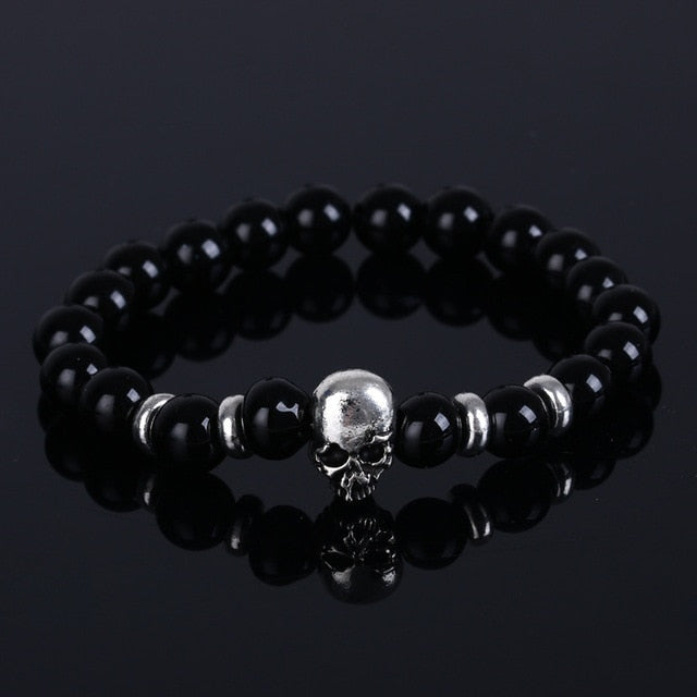 Aluminium Skull Natural Stone Beads Elastic Bracelets for Men and Women black stone | etrolleys.com