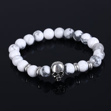 Load image into Gallery viewer, Aluminium Skull Natural Stone Beads Elastic Bracelets for Men and Women white| etrolleys.com