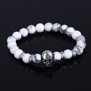 Aluminium Skull Natural Stone Beads Elastic Bracelets for Men and Women white| etrolleys.com