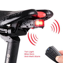 Load image into Gallery viewer, USB Charge Wireless Remote Control Bicycle Rear LED Light + Anti-theft Alarm