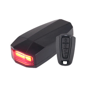 USB Charge Wireless Remote Control Bicycle Rear LED Light + Anti-theft Alarm