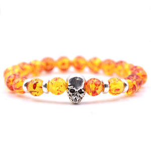 Aluminium Skull Natural Stone Beads Elastic Bracelets for Men and Women yellow fire| etrolleys.com