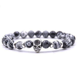 Aluminium Skull Natural Stone Beads Elastic Bracelets for Men and Women zebra | etrolleys.com
