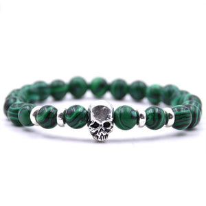 Aluminium Skull Natural Stone Beads Elastic Bracelets for Men and Women green | etrolleys.com
