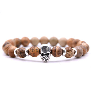 Aluminium Skull Natural Stone Beads Elastic Bracelets for Men and Women brown stone | etrolleys.com