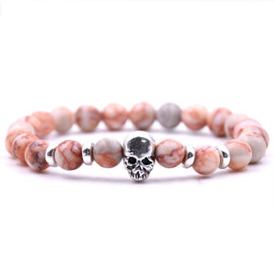 Aluminium Skull Natural Stone Beads Elastic Bracelets for Men and Women light pink| etrolleys.com